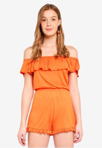 38fbfca1a156 Miss Selfridge orange Jersey Bardot Playsuit Orange CCE22AA3D0855FGS 1