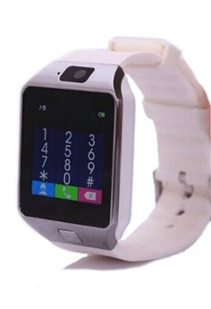 SIMAX S1 Bluetooth Smart Watch With Camera Facebook/Twitter on White Rubber Strap - SIMAX-S1-WHI