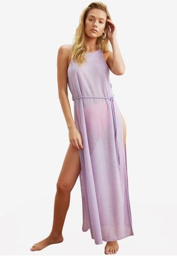Trendyol 紫色 High 開衩細節 Beach Cover Up 洋裝 A4CEBAA25E65D0GS_1