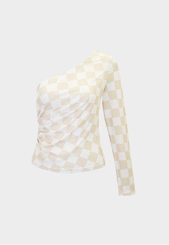 Pomelo beige Checkered One Shoulder Long Sleeve Top - Beige 20132AA4EEABEAGS_1