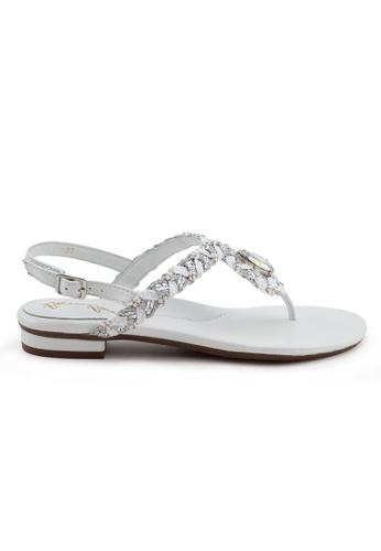Shu Talk white and silver Boho Nappa Leather T-Strap Sandal 7B06CSHF94B3E9GS_1