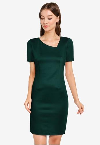 ZALORA WORK green Asymmetric Neck Knit Dress 4A42EAA9B6DAE6GS_1