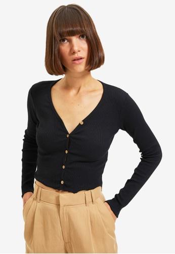 Trendyol black Plain Button Crop Top 3738FAA08C2379GS_1