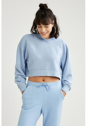 DeFacto blue Long Sleeve Crop Hoodie 5219AAA13C6C8AGS_1