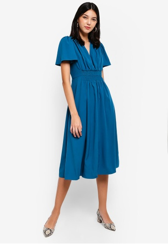 ZALORA blue Pleated V-Neck Fit And Flare Midi Dress 3AB40AA67B0060GS_1