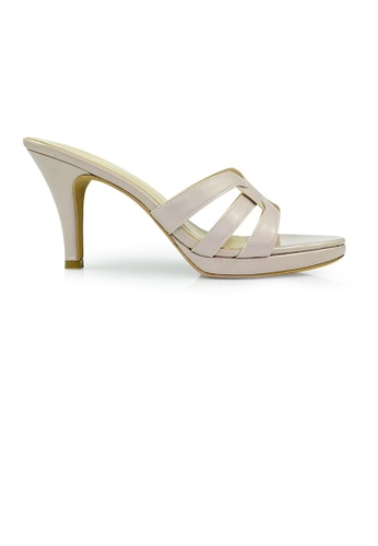 SHINE beige SHINE Tribute Slip On Platform Heels Sandals 16A9CSH6C31E96GS_1