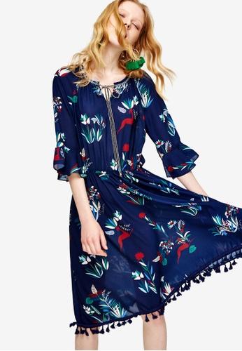 Hopeshow blue and multi Floral Tassel Hem Midi Dress 9F49CAAF6798E0GS_1