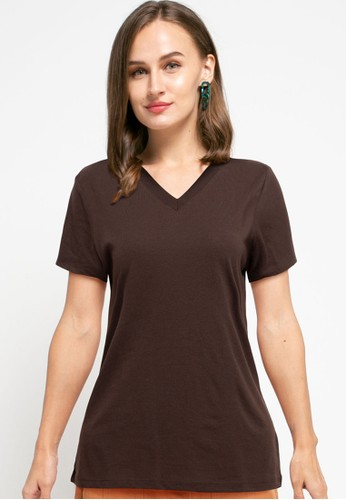 Tolliver brown V Neck Basic Short Sleeve Tee EAB74AAC74C1F6GS_1