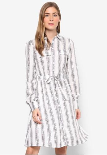 Kandell 條esprit mongkok紋圖樣繫帶長袖連身裙, 服飾, 洋裝