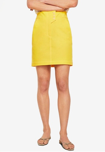 Mango yellow Committed Collection Cotton Buttoned Skirt E00F3AA9E2916AGS_1