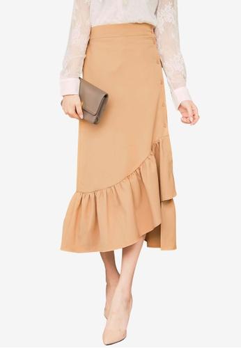 Yoco brown Asymmetrical Ruffle Skirt 66749AAB5A4C39GS_1
