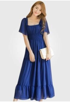 Cotton Candy Flutter Maxi Dress
