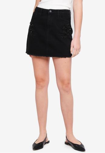 GUESS 黑色 Corenza Gem Embellished Denim Skirt 98A03AAC75A8FBGS_1