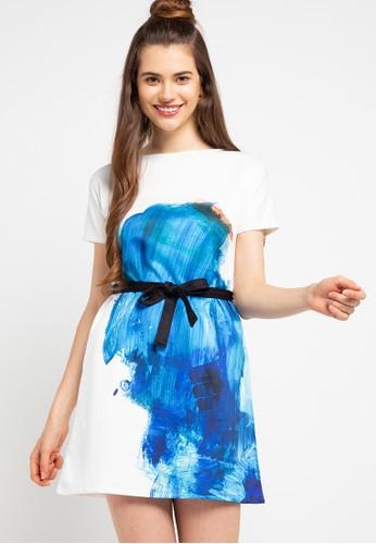Ans.Ein white Splash Sleeve Dress D0C17AAF0A29C0GS_1