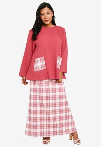 CURVA FABULOUS pink Kurung Kedah Plaid EE64FAAF509755GS_1