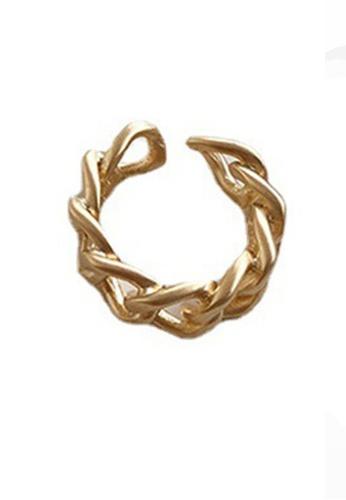 Sunnydaysweety gold Twist Pattern C-Shape Ring CA030217GD 1F1B1AC7D20CF7GS_1