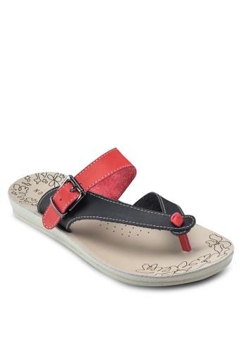 撞色休閒夾腳涼鞋, 女鞋, 懶人esprit 香港鞋