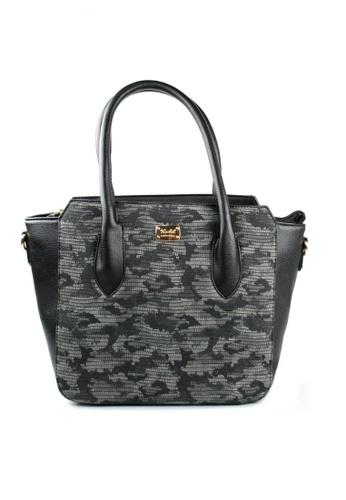 Kimbel International black Printed Handbag with Sling 18757AC808B7D8GS_1