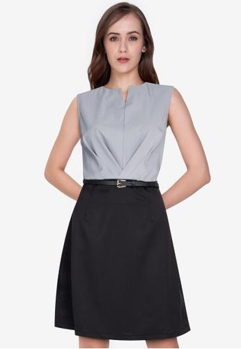 ZALORA WORK multi Sleeveless Pleat Detail Shift Dress 6288BAA9A77703GS_1