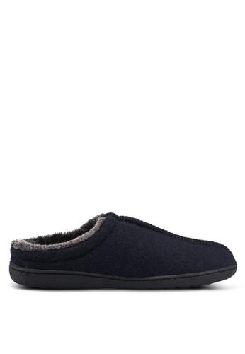 Burton Menswear London navy Black Textured Mule Slippers 7389ESH7CE8DE1GS_1