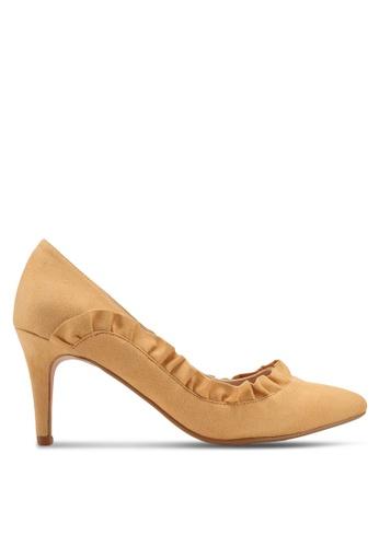 Velvet yellow Side Ruffle Detailed Heels 9B6E8SH9FF67DAGS_1