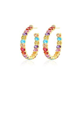 Glamorousky 多色 時尚優雅鍍金色幾何C型耳環配彩色鋯石 7B92BAC2FA05E4GS_1
