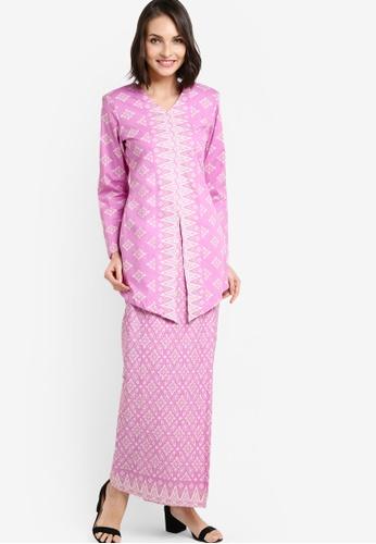 Butik Sireh Pinang pink Larissa Cotton Modern Kebaya with Songket Print BU003AA47FNOMY_1