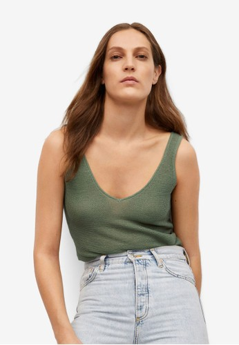 Mango green Knitted Cropped Top 03E36AACEBF02EGS_1