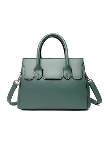 Lara green Women's Plain Litchi Pattern Leather Zipper Handbag Shoulder Bag - Green 19E53AC43DC263GS_1