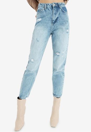 Trendyol blue High Waist Ripped Mom Jeans 3060BAA32F23E3GS_1