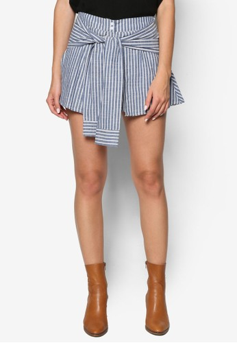 假袖子襯衫綁帶條紋裙褲, esprit門市服飾, 短褲