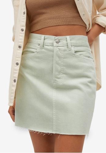 Mango green Frayed Hem Denim Mini Skirt 3B74CAAB66B8D1GS_1