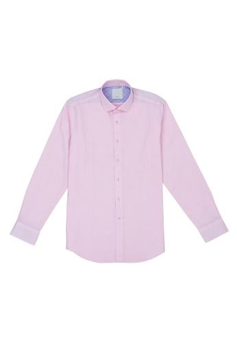 Benjamin Barker pink Langthorn Easy Iron Check Shirt C3A1AAA1F24766GS_1