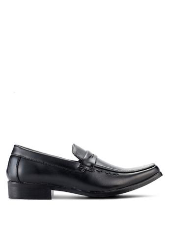 UniqTee black Slip On Derby Shoes With Strap Detail UN097SH98NQBMY_1