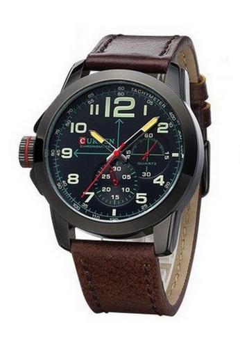 curren black Curren 8182 Men's Military Leather Strap Watch (Full Black) CU537AC11SZKMY_1