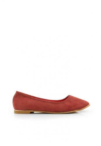 SHINE red Point Toe Suede Flats SH554SH0GQHCSG_1