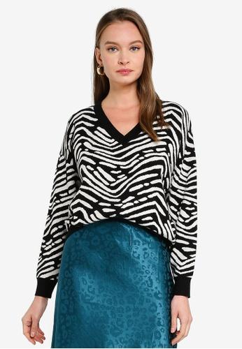 FORCAST black Blair Zebra Knit Sweater 0731CAA214C9C7GS_1