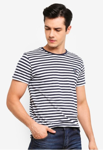 !Solid navy Santos Skull Embroidery Striped T-Shirt B89AFAA04D49DFGS_1
