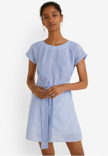 Mango blue Striped Cotton Dress 29C71AAB1CA2ABGS_1