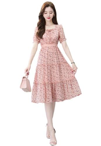 Halo pink Floral Printed Chiffon Dress 00180AAB1E32C6GS_1
