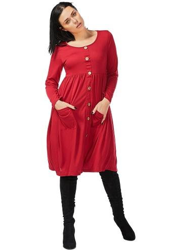 London Rag 紅色 酒红装饰钮长裙 71601AAF9C092EGS_1