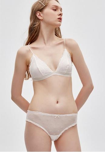 Celessa Soft Clothing White Wedding - Mid Rise Mesh Ruffles Brief Panty 32C49USA66507AGS_1