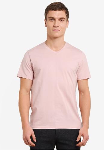 ZALORA 粉紅色 V 領 短袖 T卹 B1CEEAA06BDAF5GS_1