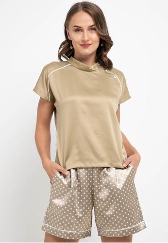 Gaff beige Set Bianca Blouse and Shorts 3E567AA81445E9GS_1