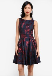 ZALORA blue and navy Jacquard Cut Out Mini Dress DCB8FAA2AE5AEBGS_1