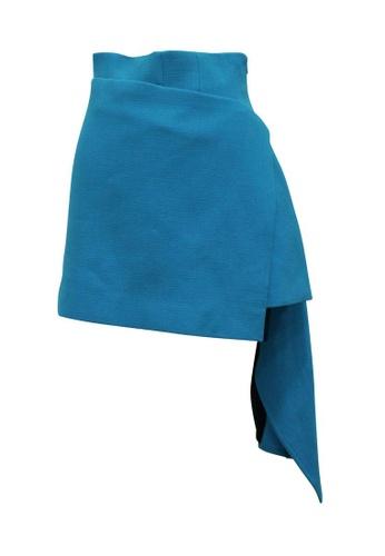 Fausto Puglisi 藍色 fausto puglisi 藍色不對稱半身裙 04B37AA5F5A303GS_1