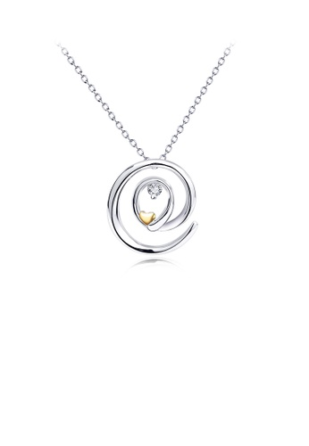 Glamorousky white 925 Sterling Silver Fashion Simple Geometric Circle Golden Heart Pendant with Cubic Zirconia and Necklace 6D328AC414E4DBGS_1