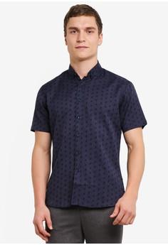【ZALORA】 All Over Dobby Printed Short Sleeve Shirt