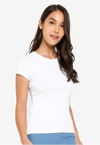 9be26186 UniqTee white Ribbed Crew Neck Short Sleeve T-Shirt 4C166AA94AEAD7GS_1
