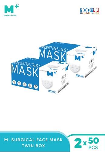 M+ white Masker Medis Earloop 3 Ply Paket 2 Box- Surgical Mask Isi 50 Pcs Putih 2B893ESC6A6539GS_1